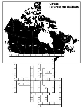 Canada- Provinces and Territories. map crossword and word search
