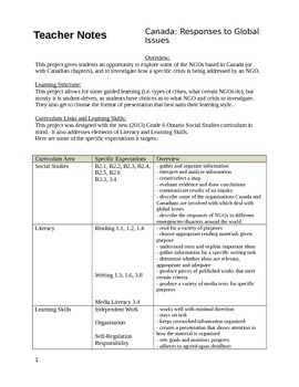 Grade 6 Social Studies: Responses to Global Issues (NGOs)