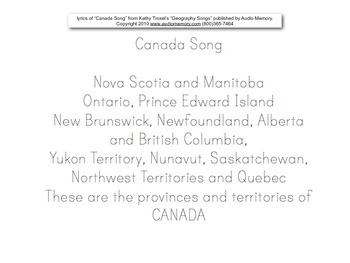 """Canada Song"" pdf Map to Label/Color, Printing Practice for Lyrics"