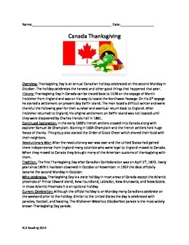 Canada Thanksgiving Day - History Review Article Questions Lesson Vocabulary