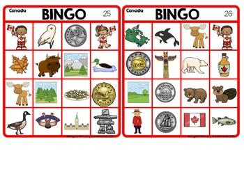 Canada Themed Bingo Game