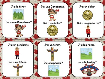 Canada Themed Vocabulary Game in French - J'ai...Qui a...?
