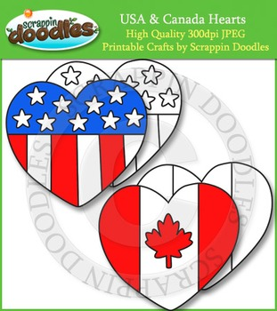 Canada & USA Flag Hearts