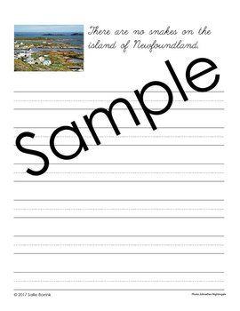 Canada Unit - Copywork - Cursive - Handwriting