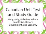 Canada Unit Study Guide and Test