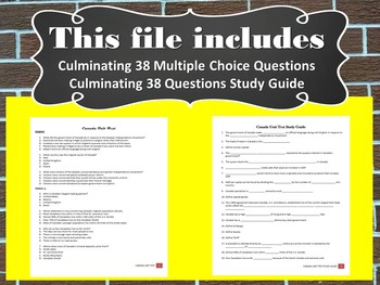 Canada Unit Test and Study Guide