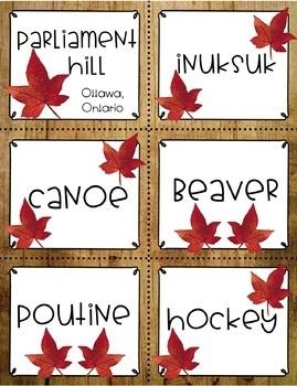 Canada Vocabulary Cards