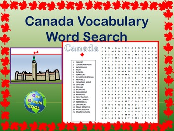 Canada Vocabulary Word Search
