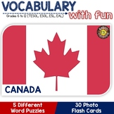 Canada - Country Symbols: 5 Different Word puzzles and 30 Photo Flash Cards