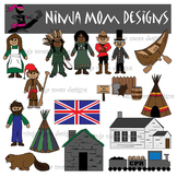 Canada Westward Expansion Clip Art in Color and Black Line