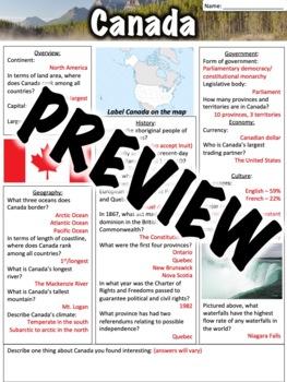 Canada Worksheet