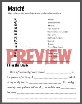 Canada Worksheets - provinces, territories, abbreviations, & addresses