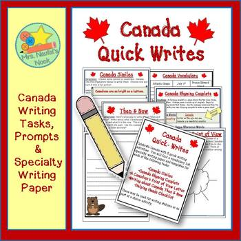 Canada Writing Activities - Poetry, Lists, Similes, Letters & Writing Paper
