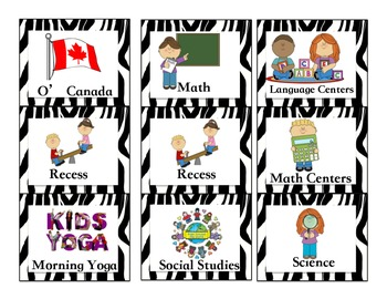 Canadian Zebra Jungle Schedule/Timetable, with pictures, kid friendly