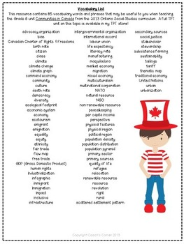 Canada and the Global Community Word Wall