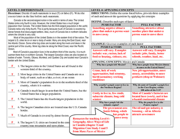 Canada and the U.S. (DOK) Leveled Assessment