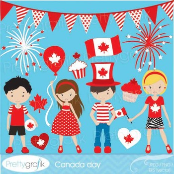 Canada day clipart commercial use, vector graphics, digita