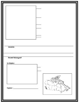 Canada - province and territory worksheet in French