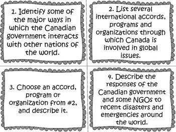Canada's Interactions with the Global Community Task Cards