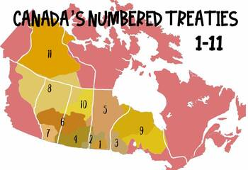 Numbered Treaties In Canada Map Canada's Numbered Treaties Map by lilsupplyco | Teachers Pay Teachers