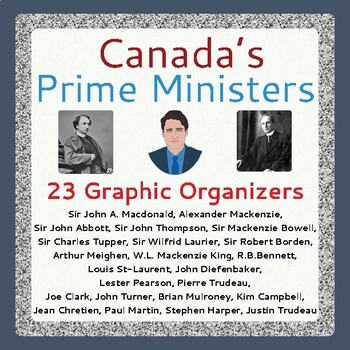 Canada's Government Our Prime Ministers: 23 Graphic Organizers