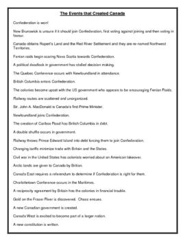Canada's Confederation Timeline - Final Project