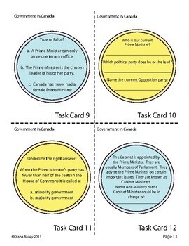 Canadian High School Civics  Graphic Organizers, Task Cards