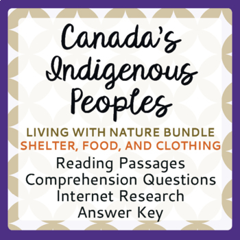 Canada's Native Peoples Living with Nature BUNDLE Clothing Shelter Food