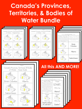 Canada's Provinces, Territories & Bodies of Water BUNDLE!