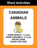 Canadian Animals - Word Search, Word Scramble,  Secret Cod