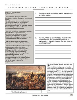 Vimy, Ypres and More - Canadian Battles of World War One - 8 Dynamic Pages!