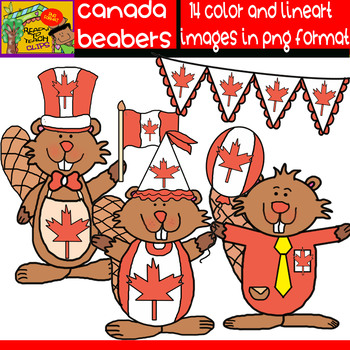 Canadian Beavers - Clipart Set - 14 Items including Borders and Banners