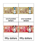 Canadian Bills Matching Cards Montessori