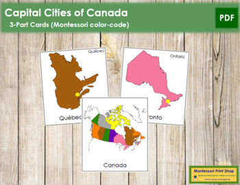 Canadian Capital Cities: 3-Part Cards
