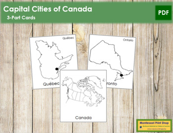Canadian Capital Cities: 3-Part Cards (B/W)