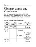 Canadian Capital Cities Coordinates Worksheet