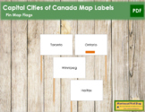 Canadian Capital Cities - Pin Map Flags (color-coded)