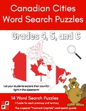 Canadian Cities Word Search Puzzles - Canadian Geography. Grades 4,5,6