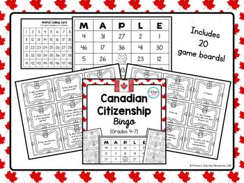 Canadian Citizenship Bingo