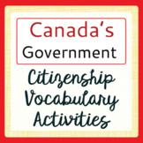 Canadian Government Citizenship Vocabulary Activities