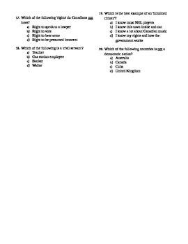 Canadian Civics - Introduction Diagnostic Quiz