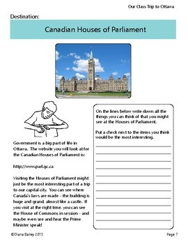 Canadian Social Studies Activities: A Class Trip to Ottawa