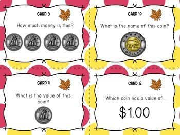 Counting Canadian Coins, Task Cards