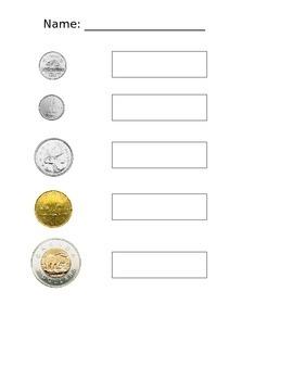 Canadian Coin Name Matching Worksheet