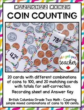 Canadian Coins - Coin Counting Combinations to 100