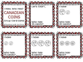 Money - I Have, Who Has? Canadian Coins Group Card Game