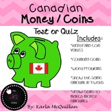Canadian Coins / Money Quiz or Test