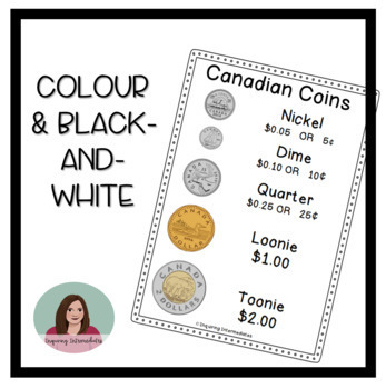 CANADIAN Coins Poster - No pennies! - Colour and Black and White Versions