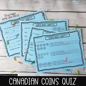 Money - Canadian Coins Quiz (4 pages + Answer Key)