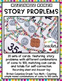 Canadian Coins - Story Problems with Coin Combinations to 100